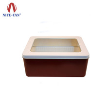 Custom Printing Cookie Chocolate Candy Food Gift Packing Large Rectangle Metal Tin Box With PVC Clear Window