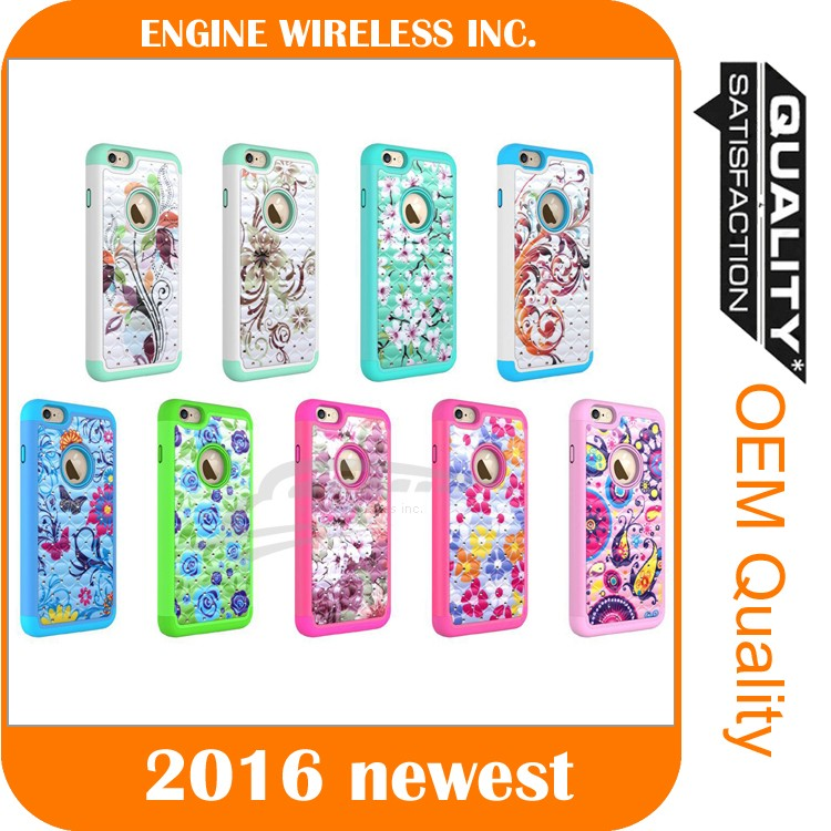 crystal bling diamond hybrid hard rugged shockproof case cover for iphone 6/6s plus