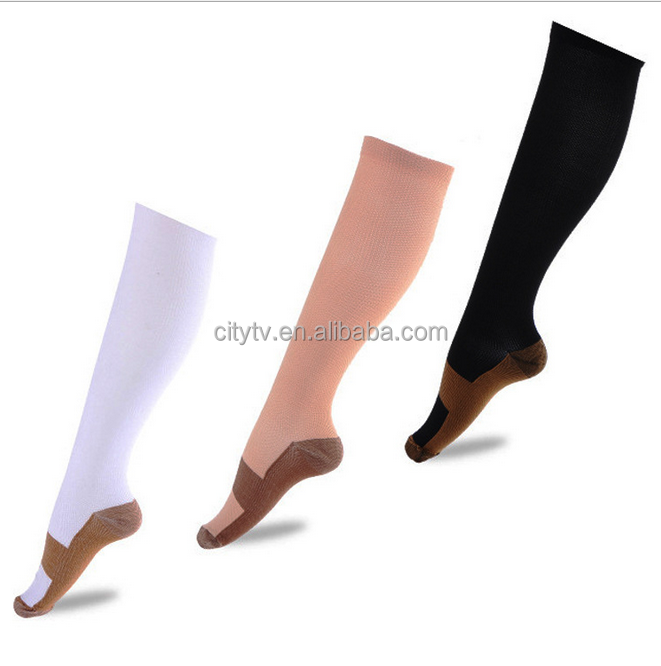 China Factory Compression Pressure Copper Infused Support Copper Socks