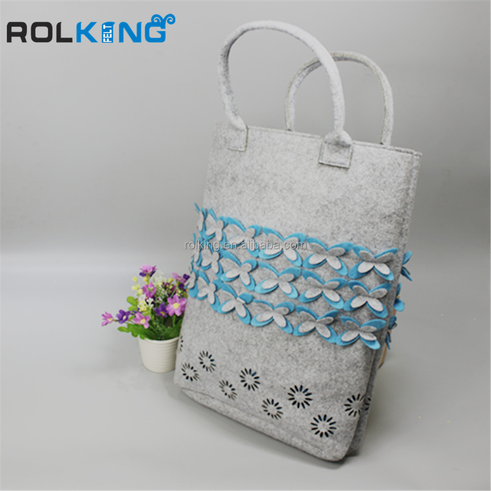 Fashion korean felt fiber hand carry shoulder bag of chemical fiber Chemical