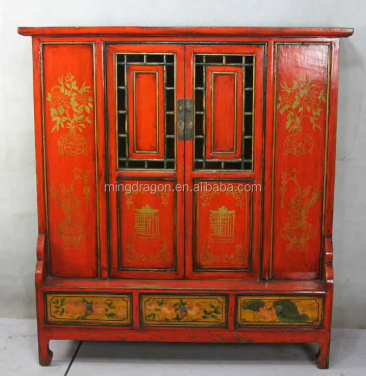 Asian Antiques Vintage Hand Painted Console Cabinet