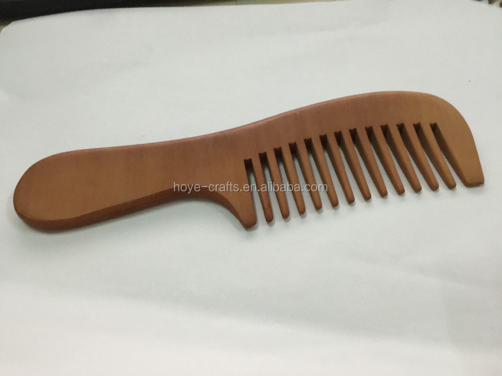 custom logo long handle wood hair comb home use wooden comb