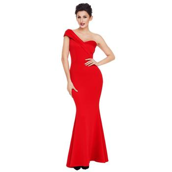 Hot Sale Wholesale Sexy One Shoulder Ponti Gown Evening Dresses