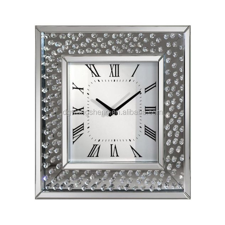 Stunning Diamond Crystal Bevelled Mirrored Glass Square Wall Clock