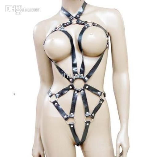 Women Sexy Wear Leather Strap Teddy Harness Bondage Sex Bra Panty
