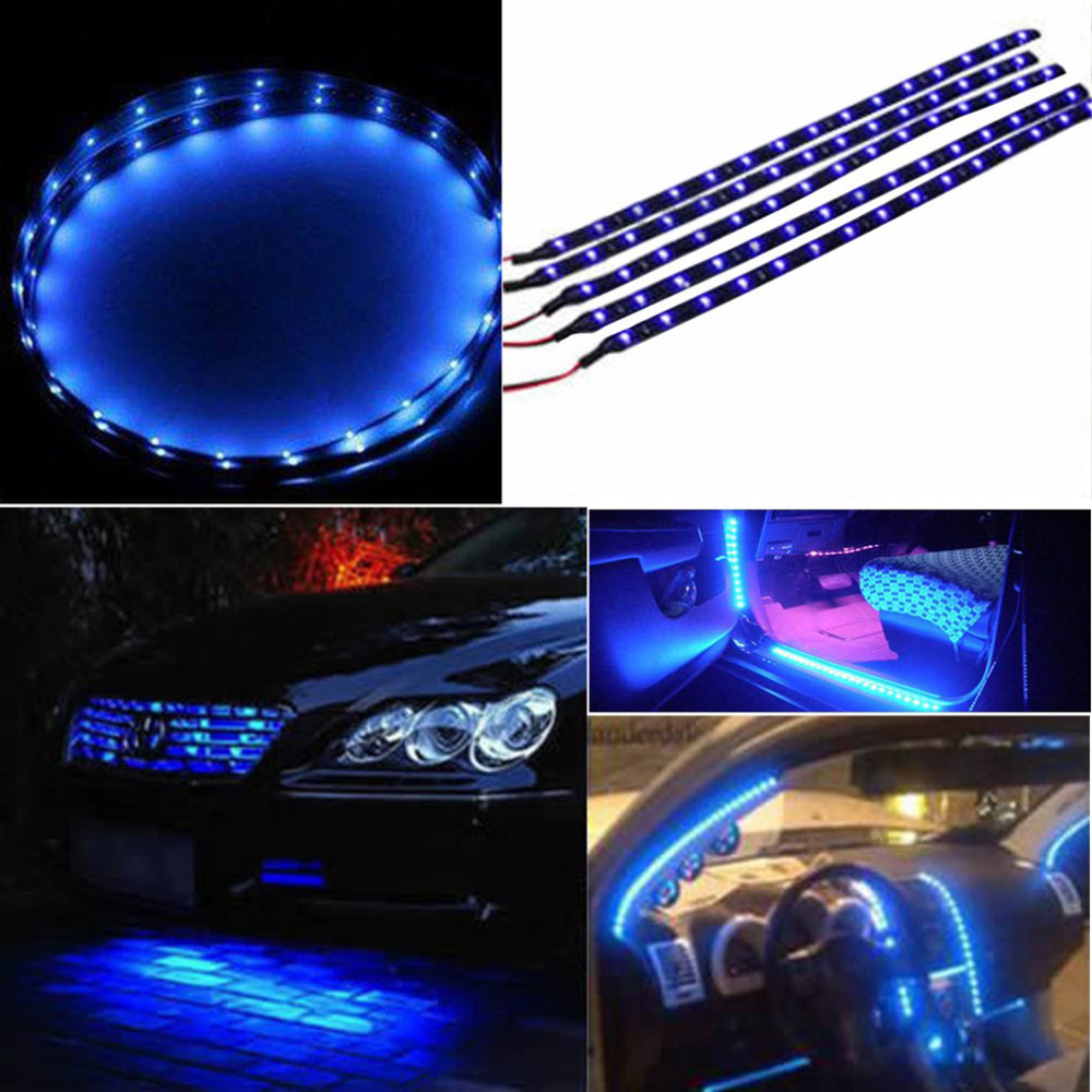 30cm 15 SMD Blue Waterproof Lights High Power Car Auto Decor Flexible LED Strips