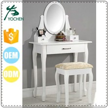 Wood White Vanity Set Make Up Table W/ Oval Mirror 3 Drawers Tan Cushion Stool