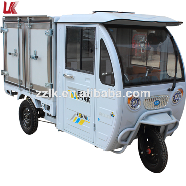 Three wheel motorcycle closed driven cabin/delivery cargo electric tricycle