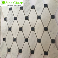 long octagon white Carrara marble mosaic tile with black dots