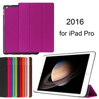 2016 Factory Supply Wholesale Price Case Flip Leather Back Cover for Ipad Pro 12.9 inch Purple