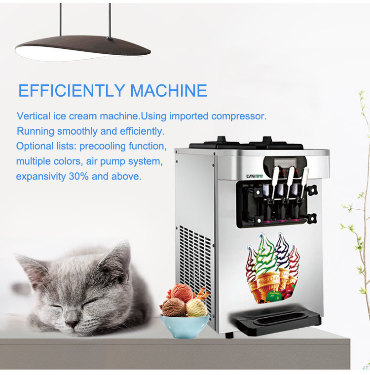 LVNI factory outlet cheap mini counter table top self service 3 flavor soft serve ice cream maker making machine for home