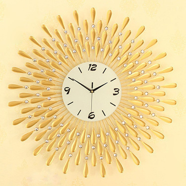 fancy design luxurious sun shaped matel golden wall clock with jewelry