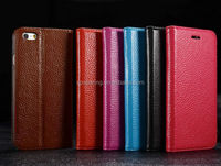 Real cow skin flip leather case pouch for iphone 6 plus, stand leather case for iphoen 6 plus