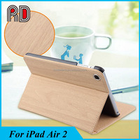 2017 New Arrive PU Leather Wood Grain Smart Case with Stand for IPad Air 2
