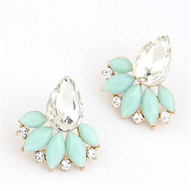 Jewelry New Brand Design Retro Exquisite Women Acrylic Flower Crystal Gem Cubic Zircon Stud Earrings For Women