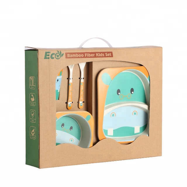 Household Children Kitchen Set Bamboo Fiber Kids Dinner Set Children Dinnerware <strong>A001</strong>