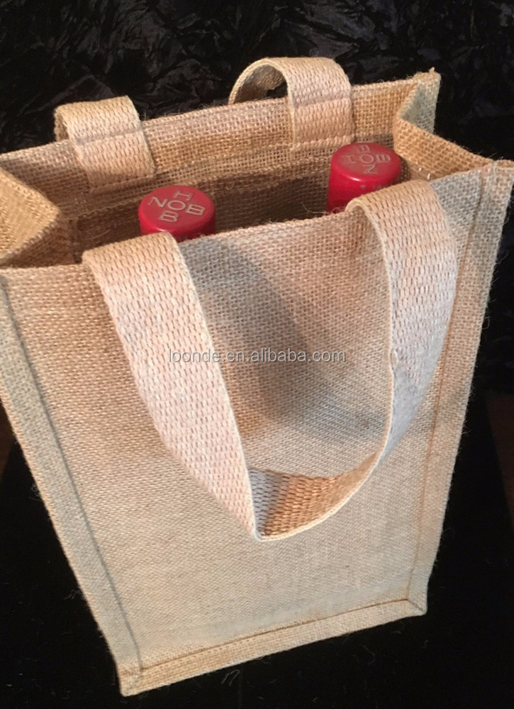 Wholesale burlap 2 bottle wine gift bags for travel