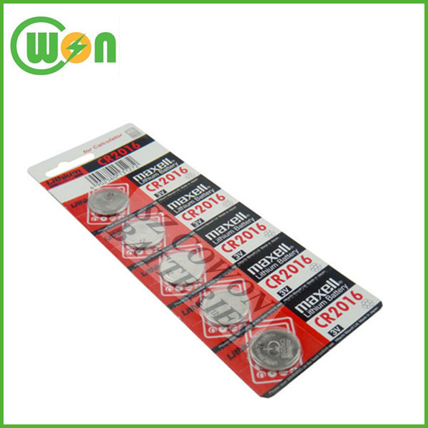Battery for Maxell lithium button cell CR2016 for button batteries for watches with card package