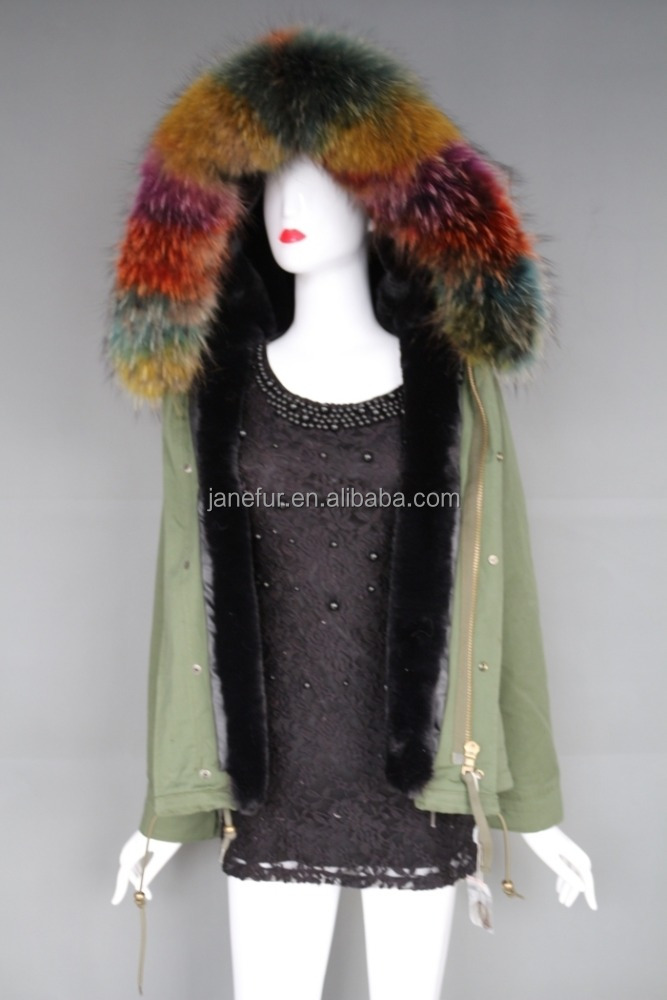 Clothing factory cheap faux fur lined coat colorful fur collar short parka for winter