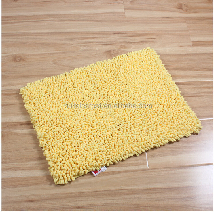 loop pile door mat with hot melt anti slip base floor chenille Bath mat