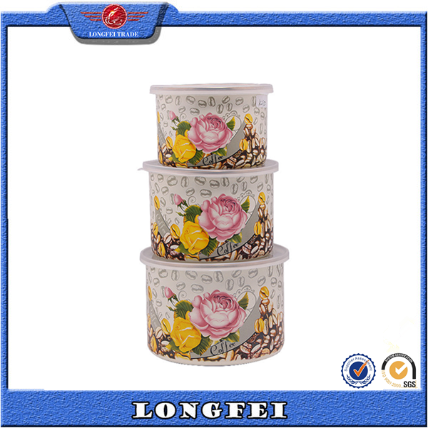 2015 new fashion deep enamel food bowl with PP lid