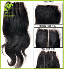 8A Body Wave 3 Way Part Closure, Brazilian Hair Closure 1B, Virgin Brazilian Hair Closure