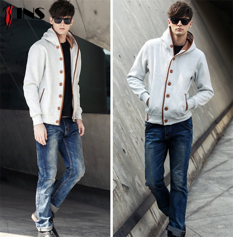 Manufacturers new spring new design men's cardigan hooded sweater