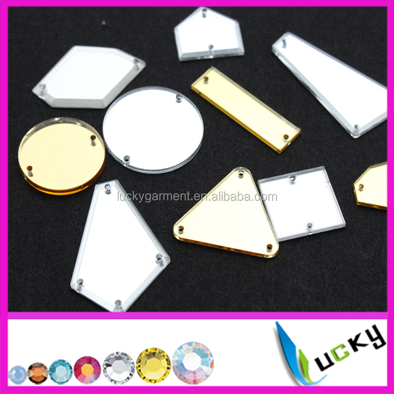 Top quality mirror acrylic sew on rhinestones all colors available flat back Plexiglass sheet