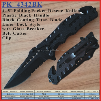 "(PK-4342BK) 4.5"" Cool Black Plastic Light Rescue Survival Pocket Knife"
