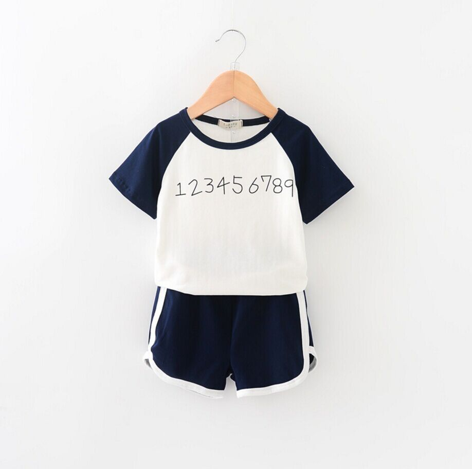 Custom made sports suits children spell color digital sets T-shirt + shorts