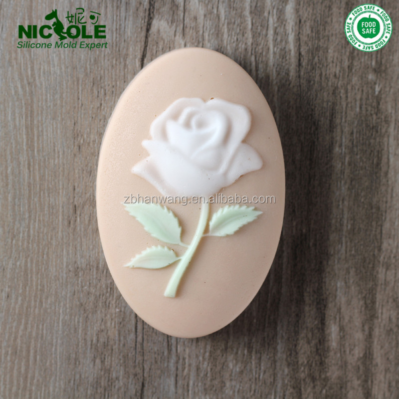 Oval Shape Rose Flower Decorative Natural Soap Making Silicone Mold <strong>Manufacture</strong>