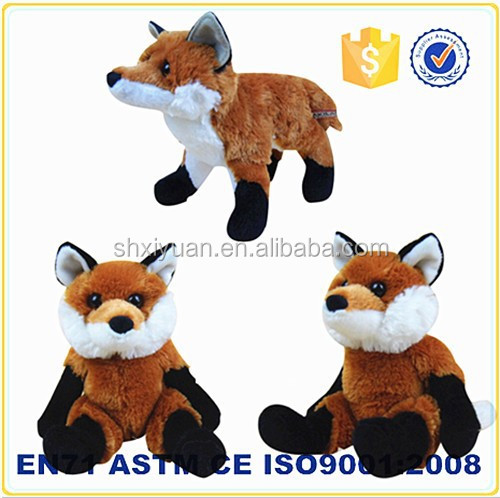 Custom cute stuffed brown animals toy plush fox