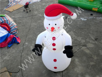 Outdoor cute Christmas inflatable snowman cartoon, snowman balloon whth LED light C1028