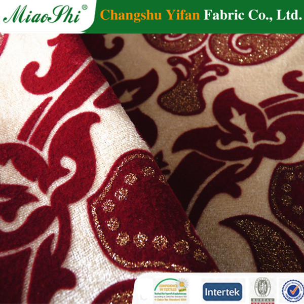 polyester discharge printing flocked velvet fabric fabric