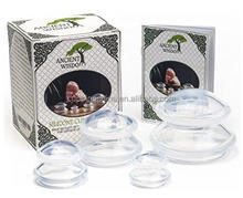 Ancient Wisdom Cupping Therapy Set (4 Sizes) w/ Pouch and Manual. Chinese Silicone Cups for Anti Cellulite, Detox, Myofascial