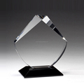 High quality blank shield trophy award crystal with black base