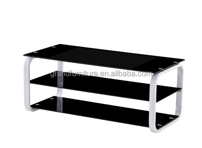 Black painted tempered glass TV stand living room