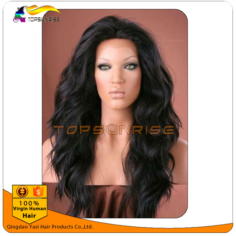 Cheap wholesale 300% high density loose wave virgin Brazilian human hair lace front wigs