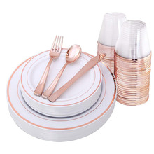 Disposable Luxury Wedding Rose Gold <strong>Plates</strong> Plastic Dinnerware Sets