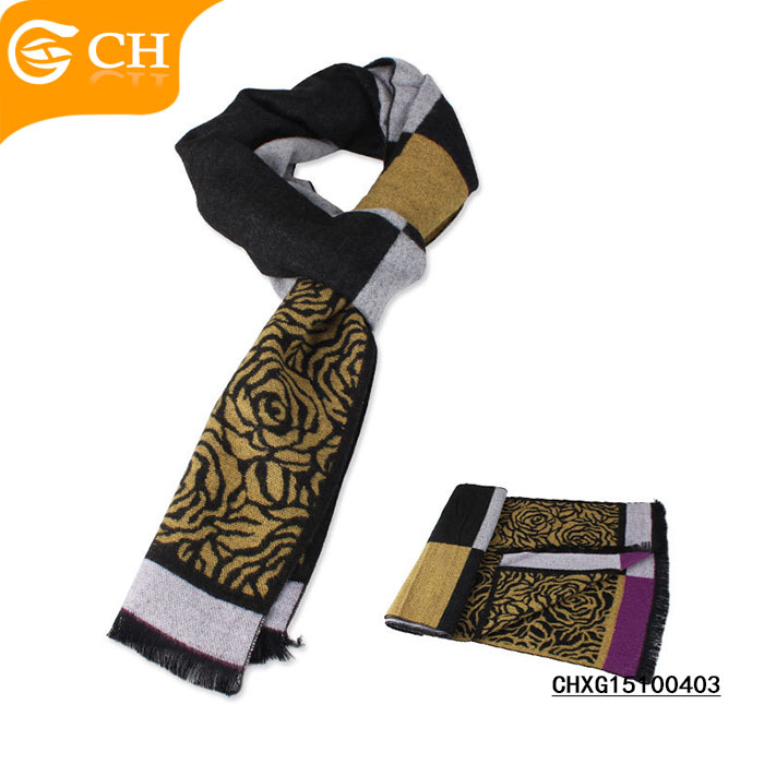 Cheap Promotional New Fashion Design Custom Brand Flower Pattern Scarf