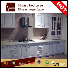 White PVC small wooden kitchen cainbets project simple design professional manufacture