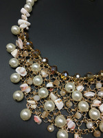 Latest European And American Big Exaggerated Multilayer Pearl With Crystal Necklace