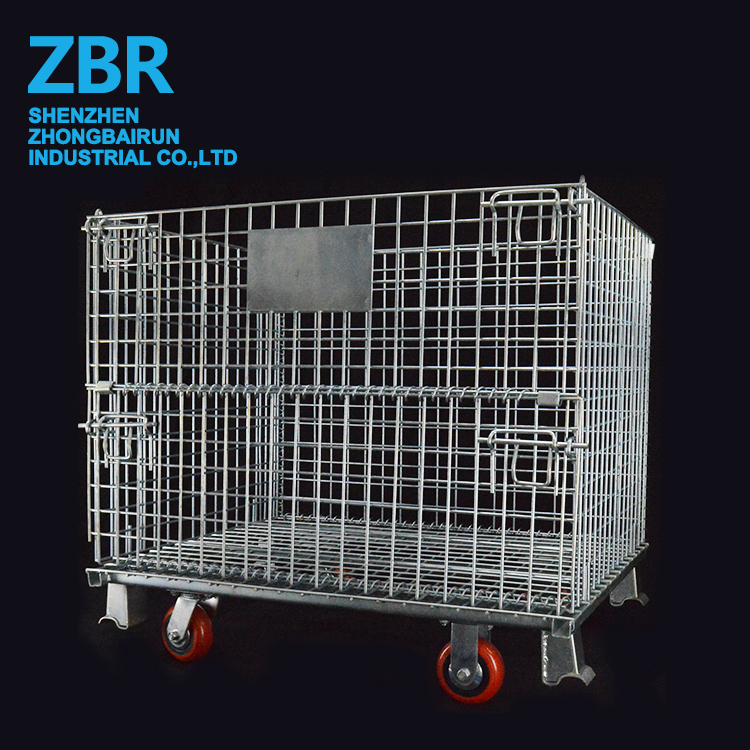Collapsible Stackable Folding Wire Mesh Basket with Wheels