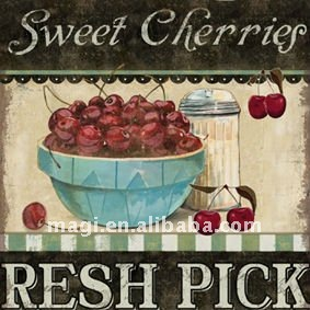 Antique Cherries Print Canvas Modern Oil Painting