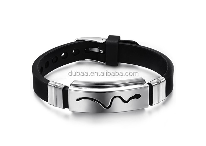 Cool Titanium Stainless Steel Black/Silver Celtic Pattern Bracelet Silicone Wristband