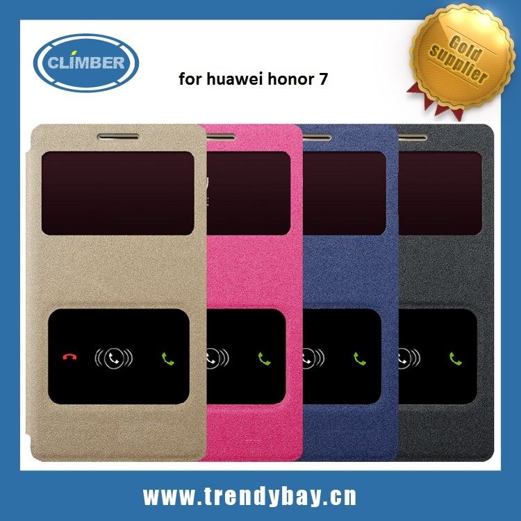High quality PU flip cover flap case for huawei honor 7