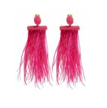 KDA6352 wholesale latest handmade long boho beaded feather earrings