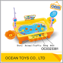 Kids plastic magnetic battery operated fishing game toy