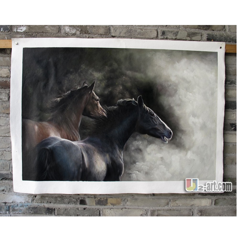 Wild horses handmade oil painting from photo