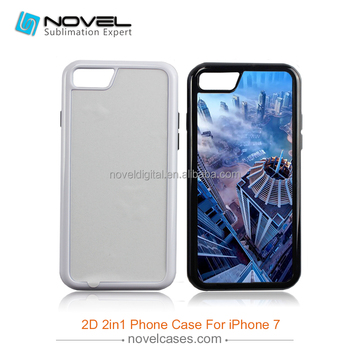 Newest 2D 2in1 sublimation case for iPhone7, Diy tough case for iPhone7